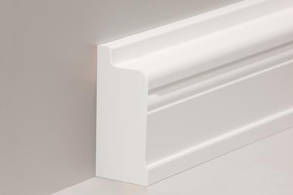 Endkappe für Heizrohrverkleidung in Buche, weiß lackiert (68 x 134 mm)
