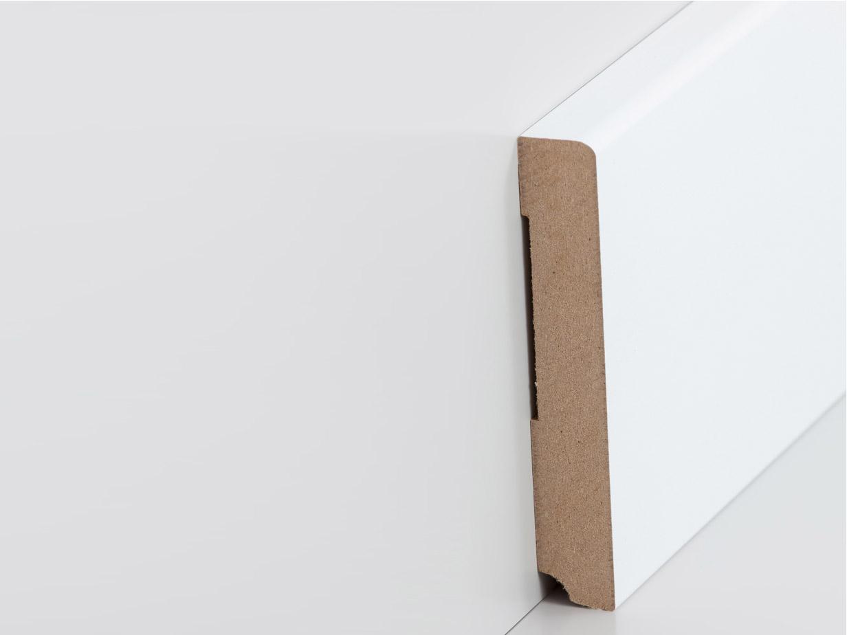sockelleiste 19 x 115 mm abgerundet, in weiß | leisten-outlet