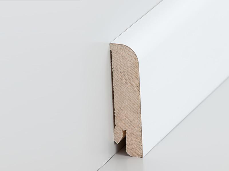 parkettleiste furniert 20 x 80 mm in deckend wei lackiert leisten outlet. Black Bedroom Furniture Sets. Home Design Ideas