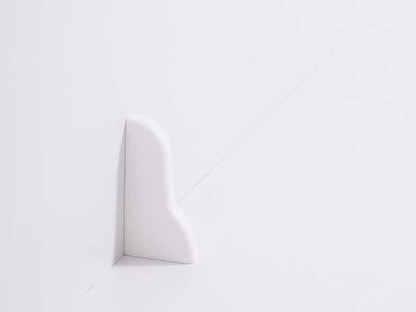 Endkappe links für Laminatleiste 20 x 40 mm im Dekor weiß