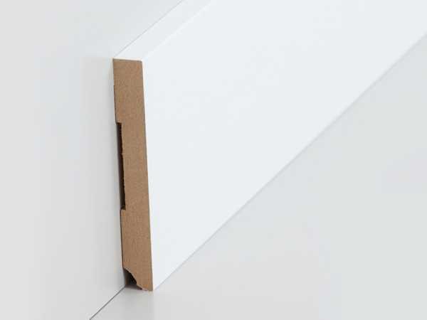 Südbrock folierte Fußleiste weiß 10 x 80 mm mit rechteckigem Profil, MDF