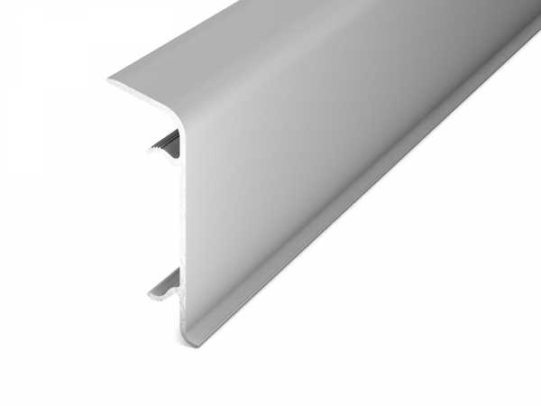 Prinz Aluminium Clip Sockelleiste Nr. 350 Silber matt, 60 mm inkl. 6 Leistenclips pro Leiste