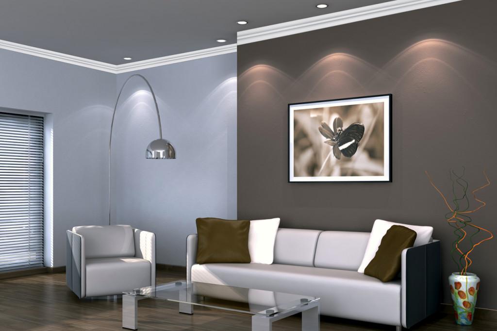 Wohnzimmer mit Deckenleisten