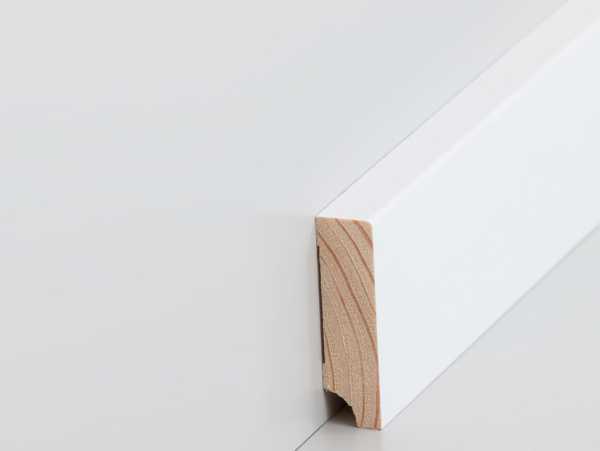Massive, Rechteckige Fussleiste 16 X 60 Mm, Kiefer Weiß Lackiert